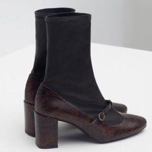 Zara Leather Mary Jane Booties
